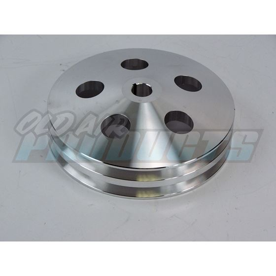 Pulley PS Satin Aluminum, Bolt-On, 2 Groove 100-2P