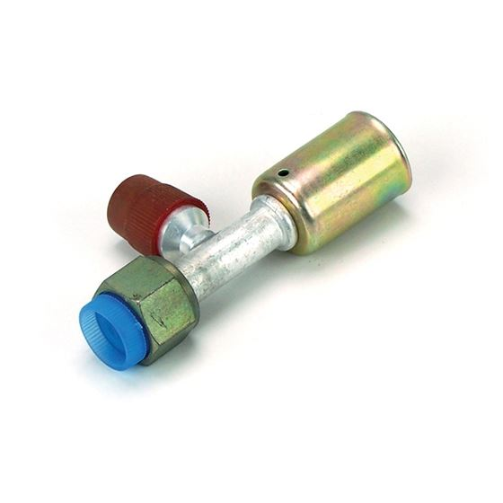 A/C Fitting - Straight Female O-ring w/ 134a Service Port